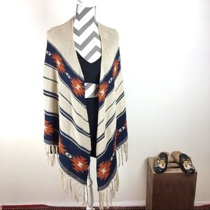 Almost Famous tribal print poncho sweater
